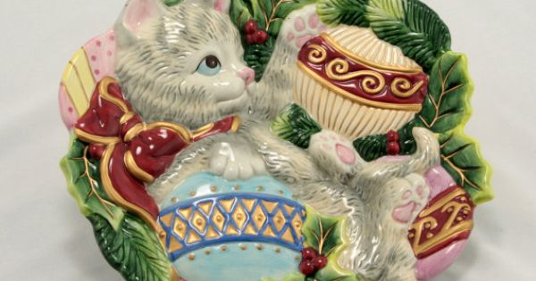 Fitz floyd kristmas kitty cat holiday canape plate by for Christmas canape plates
