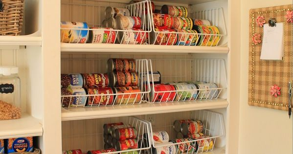 Shallow Pantry Shelves With Wire Baskets For Multiples Of