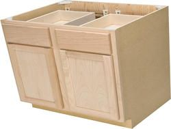 Quality One 36 X 34 1 2 Unfinished Oak Double Base Cabinet With Drawers One For The Right Side Of Unfinished