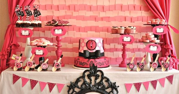 Pink & Black Glam Baby Shower from @Creative Juice desserttable babyshower