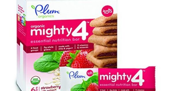 Plum Organics Mighty 4 Essential Nutrition Bars Strawberry With Spinach 6 Count Pack Of 8 Http Goodvibeorga Plum Organics Nutrition Bars Organic Recipes