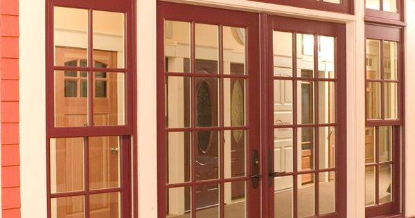 Marvin Ultimate Wineberry Clad French Door With Transom