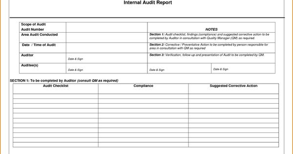 Internal Audit Report Template Word Internal Audit Audit