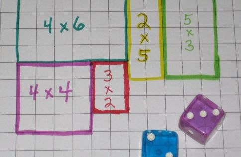 Area math game: Roll the dice and draw the area array on
