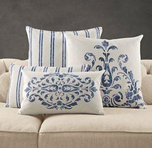 Blue French Country Pillows By Thebrownmoose Almofadas Bordadas