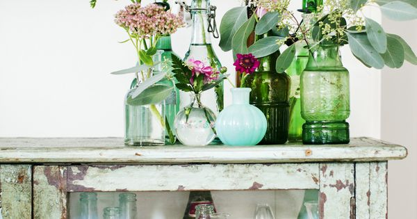 wildflowers in vases, bottles & jars