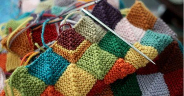 Blanket to use up scrap yarn. Knitting/Crochet ...
