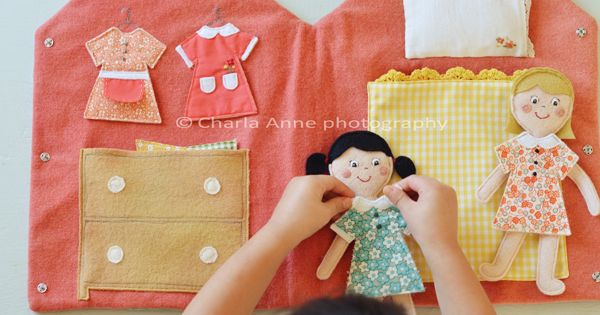 Felt dress up dolls. house doll bed sewing diy