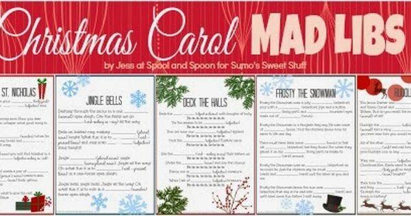 Christmas Carol Printable: Five PRINTABLE Christmas Carol Mad Libs By Spool And Spoon