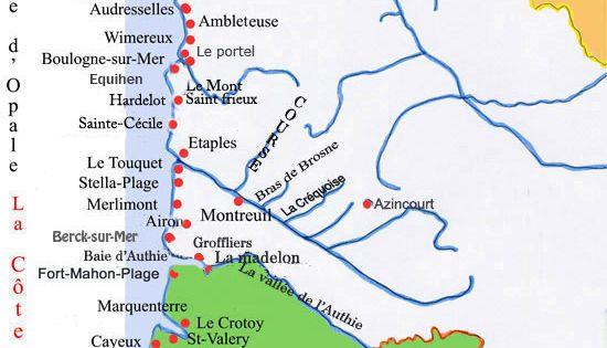 Carte de la cote d'opale   Voyages   Pinterest   France ...