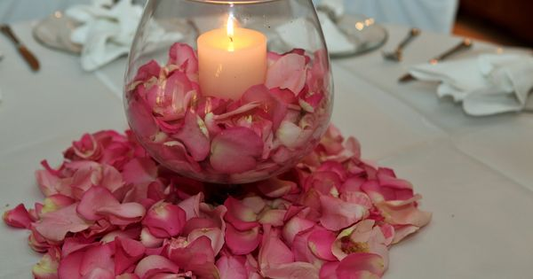 Round glass globe wedding centerpiece with candle