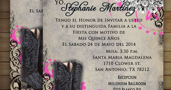 western - chic bling Sweet 16 or Quinceañera invitation Printed or Digital Available | Custom ...
