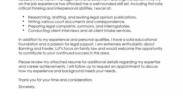Legal Assistant Cover Letter Always Use A Convincing