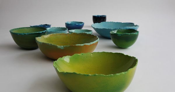 Maarten De Ceulaer's Balloon Bowls, made from synthetic plaster and pigmented with