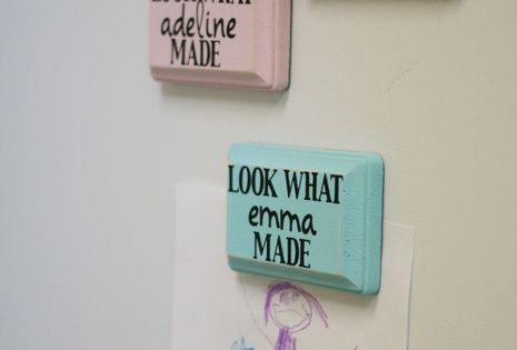 Fridge magnets for the kid's artwork