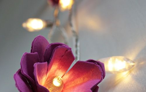 DIY egg carton flower fairy lights.