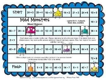 Monster Math Division Games For Fact Fluency Division Games