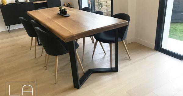 Pied De Table M La Fabrique Despieds Table A Manger Bois Et Metal Table A Manger Table A Manger Industriel