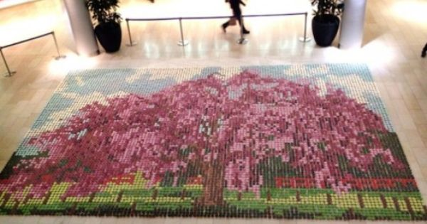 Edible Cherry Blossom Tree Mosaic... made from 10,000 scrumptious cupcakes -- created