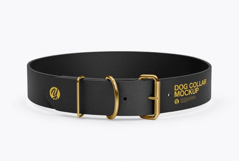 Leather Dog Collar Mockup Front View High Angle Shot In Object Mockups On Yellow Images Object Mockups Mockup Free Psd Mockup Psd Mockup