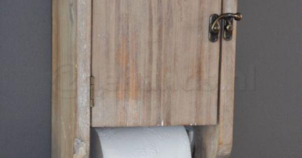 Toiletrolhouder kastje hout wc rolhouder landelijk te koop woonidee n pinterest - Een wc decoreren ...