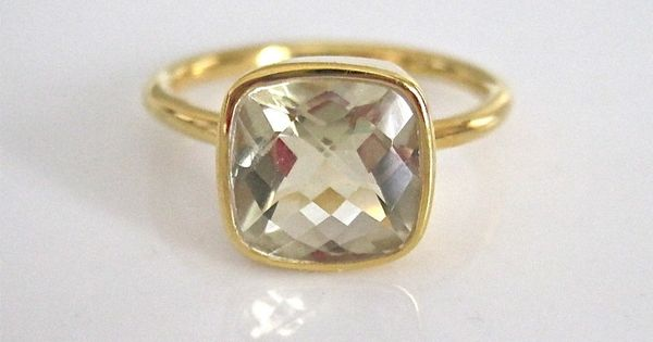 Gold Vermeil Faceted Ring / Tangerine - so pretty and simple