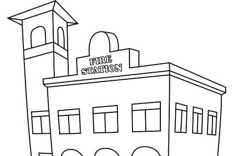 Fire station coloring page from fire for Fire station coloring page