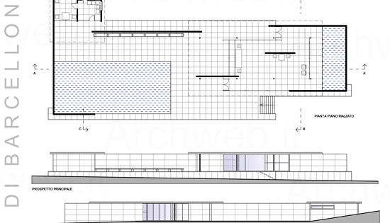 barcelona pavilion drawing 1929 ludwig mies van der rohe scale 1 100 school pinterest. Black Bedroom Furniture Sets. Home Design Ideas
