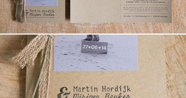 Kraft trouwkaart met lavendel voor Martin & Mirjam (RenskeAnna) - Met
