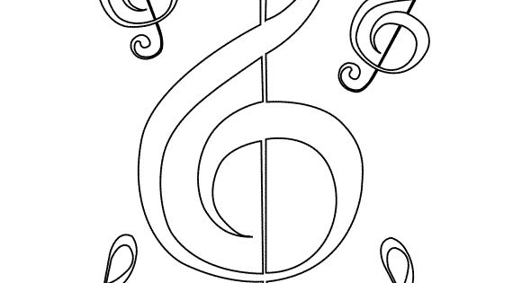 treble clef colouring page