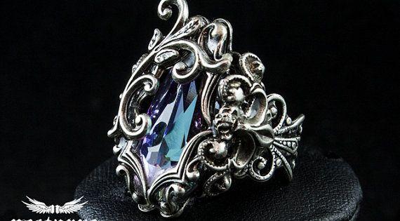 Gothic Fantasy Ring with Vitrail Light Swarovski Crystal by Nocturne