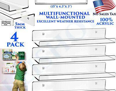 "4pc Clear Acrylic Floating Shelves 15/"" Wall Mount Display Nursery Books Bathroom"