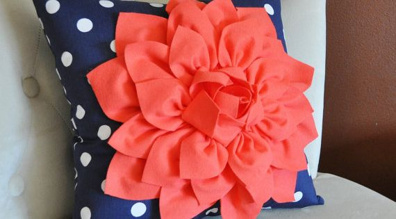 16 x 16 Coral Dahlia on Navy and White Polka Dot Pillow