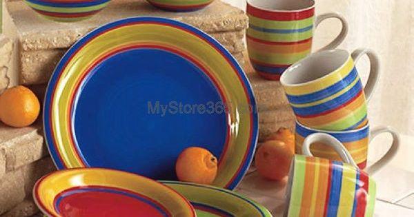 Striped 16pc Dinnerware Set Fiesta Style 20pc Stainless