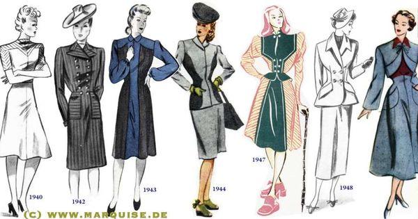 Fashion Change 1940-1949 | Vintage Clothing/ Costume ...