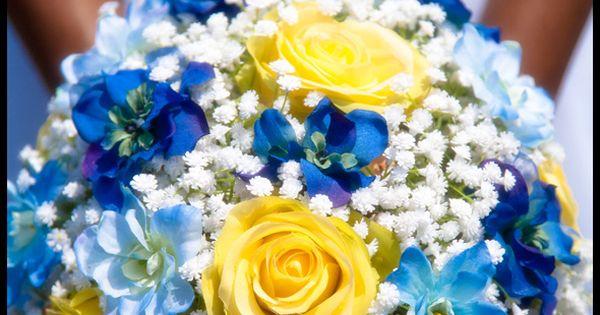 Dark Blue And Yellow Wedding: Yellow Rose, Light And Dark Blue Delphinium, And White