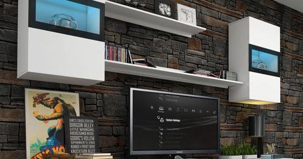 Vous allez faire des envieux avec cet ensemble tv omega for Meuble tv 2m50