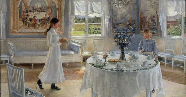 Classical swedish interior lovingly painted by carl larsson blue white in art pinterest - Eigentijdse woonkamers ...
