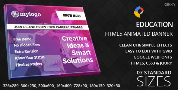Education Html5 Ad Banners By Goaldesigns Education A 20html5 Ad Banners Designed With Google Web Designer An Banner Ads Banner Ads Design Animated Banners