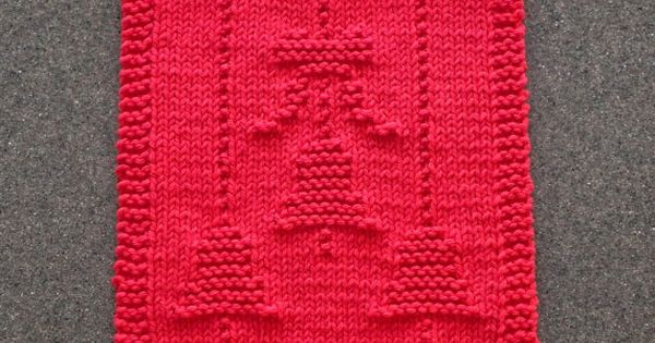 Christmas bells bow knit dishcloth red 100 cotton for Knitted christmas bells