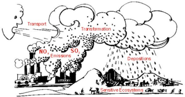 picture depicting acid rain formation and deposition