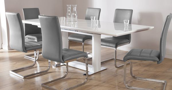 Tokyo White High Gloss Extending Dining Table And 6 Chairs Set Perth Grey Dining Room Furniture Modern Modern Dining Table Contemporary Dining Room Sets