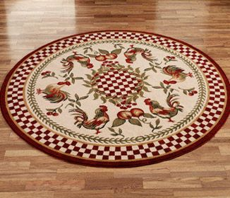 Round Kitchen Rooster Rugs Laurieflower Decor Rug