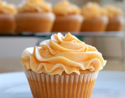 Peach Cupcake with Peach Buttercream Frosting - I kept this on my