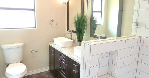 bath from our fourth renovation, with vessel sinks, lots of subway ...