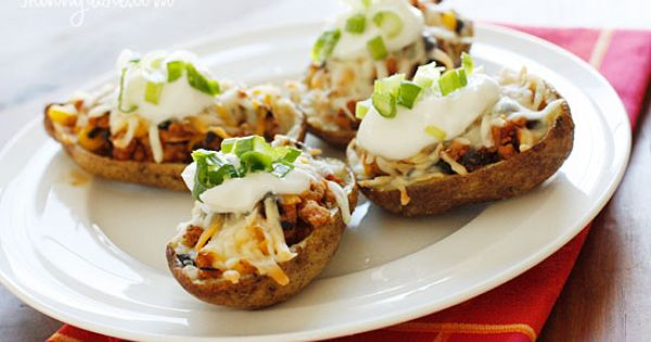 Loaded Turkey Santa Fe Baked Potato Skins - 50 Delicious Ground Turkey