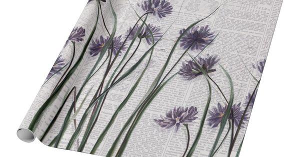 Purple Wildflowers On Vintage Newspaper Wrapping Paper Zazzle Com Newspaper Wrapping Vintage Newspaper Purple Wildflowers