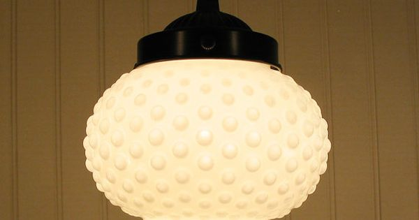 Milk Glass Bath Light: Vintage Large Milk Glass Hobnail Globe PENDANT Light