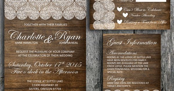 Country Chic Wedding Invitation Set With Lace On A Wood Background Sophisticated Calligraphy