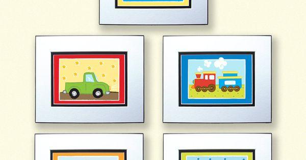 5x7 prints transportation set of 5 truck train plane for 5x7 room design